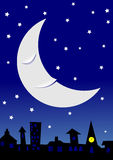 Sleepy moon over townscape Royalty Free Stock Images