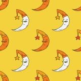 Sleepy moon seamless pattern. Original design for print or digital media Stock Image