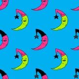 Sleepy moon seamless pattern. Original design for print or digital media Royalty Free Stock Image