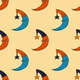 Sleepy moon seamless pattern. Original design for print or digital media Stock Photo