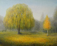 Sleepy Morning. An oil painting on canvas of an autumn misty morning in a London park with weeping willow and a birch Royalty Free Stock Photos