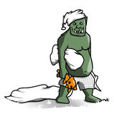 Sleepy Orc. This tired Orc has lost his bed and is looking for another place to sleep now Stock Photo