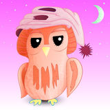 Sleepy owl in a cap 1 Royalty Free Stock Photo
