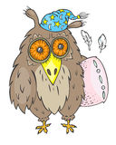 Sleepy owl with pillow Royalty Free Stock Images