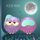 Sleepy owls couple on a branch with a full moon night background vector illustration