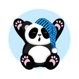 Sleepy Panda in the cap yawns and stretch oneself. Character cute and beautiful bear Stock Image