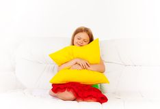 Sleepy with pillow Royalty Free Stock Photo