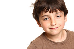 Sleepy Seven Year Old Smiling Stock Image