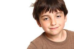 Sleepy Seven Year Old Smiling Stock Image