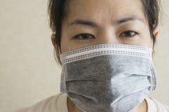 Sleepy sick woman mask flu cold health concept Royalty Free Stock Photography