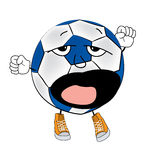 Sleepy soccer ball cartoon Royalty Free Stock Images