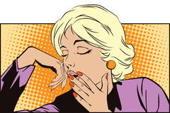 Sleepy Teenage Girl Letting Out a Big Yawn. Stock illustration. People in retro style pop art and vintage advertising. Sleepy Teenage Girl Letting Out a Big Yawn stock illustration