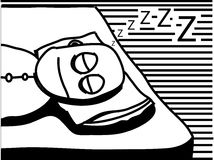 Sleepy Time. Black and white illustration of a guy fast asleep Stock Photos