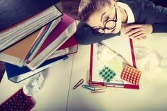 Sleepy tired businesswoman at work. Stock Image