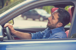 Free Sleepy Tired Fatigued Exhausted Man Driving Car In Traffic After Long Hour Drive Royalty Free Stock Photos - 74385708