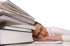 Sleepy tired student Stock Images