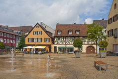 Sleepy town. Empty square in little German town Offenburg in summer Royalty Free Stock Images
