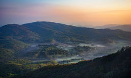 Sleepy Valley. In the early morning hours covered by some fog Stock Photography