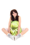 Sleepy woman in pajamas sitting with pillow Royalty Free Stock Photo