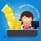 Sleepy woman working on computer and many big coffee cups Royalty Free Stock Image
