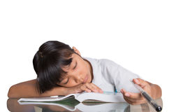 Sleepy Young Asian School Girl I Royalty Free Stock Photography