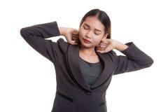Sleepy young Asian woman yawn. Royalty Free Stock Image