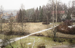 Sleet in february in Finland. In Tampere Stock Photos