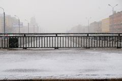 Sleet and the railing of the bridge. Over the canal. St. Petersburg, Russia Stock Images