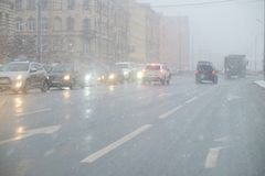 Sleet on the roads. Of European cities Royalty Free Stock Photo