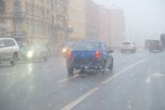 Sleet on the roads. Of European cities Royalty Free Stock Photography