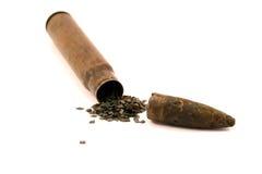 Sleeve, gunpowder and bullet stock photography