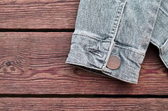 Sleeve of a jeans jacket Royalty Free Stock Photos