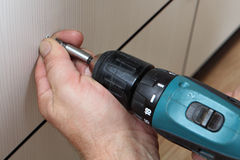 Sleeve keyless chuck cordless screwdriver Stock Photos