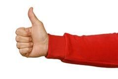 Sleeved красным цветом большие пальцы руки руки идя вверх Стоковые Изображения