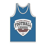 Sleeveless blue Shirt with Football Label Stock Photos