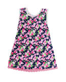 Sleeveless dress with floral pattern. On white background Stock Image
