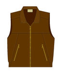 Sleeveless jacket with zipper. Sleeveless coat with zipper and two pockets vector illustration