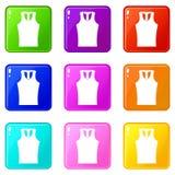 Sleeveless shirt icons 9 set Royalty Free Stock Photos