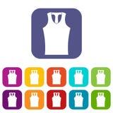 Sleeveless shirt icons set flat Stock Photos