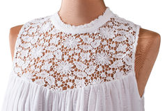 Sleeveless top with lace insert. Stock Image