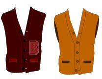 Sleeveless varsity sweaters Stock Images