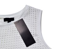 Sleeveless. White blouse with a black label, clipping path Royalty Free Stock Photo