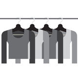 Sleeves Shirts With Hangers Stock Photography