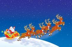Sleigh av Santa som tar av stock illustrationer
