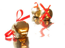 Sleigh bell with red ribbon bow Royalty Free Stock Photo