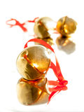 Sleigh bell with red ribbon Royalty Free Stock Images