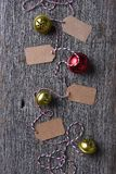 Sleigh bells and blank gift tags stock photos