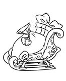 Sleigh Christmas gifts coloring page. Contour  illustration Stock Photo