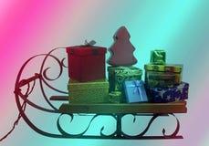 Sleigh con i regali di Natale Fotografia Stock Libera da Diritti