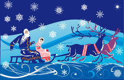 Sleigh with deers winer illustration Royalty Free Stock Photography